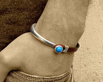 Sterling Silver Mens Bracelet, Gemstone Mens Silver Bracelet, Customized On Your Wrist, 13 Gemstones