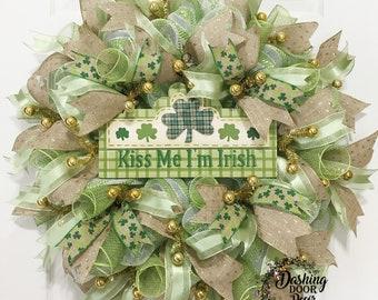 Kiss me I'm Irish Wreath, Spring Wreath, Irish Wreath, St Patrick's Day Wreath