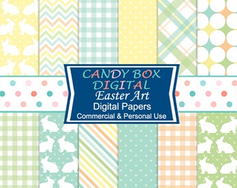 Easter Bunny Digital Background Papers, Spring Scrapbook Paper - Commercial Use OK