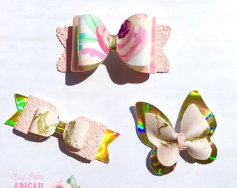 Bow floral pink gold glitter bow