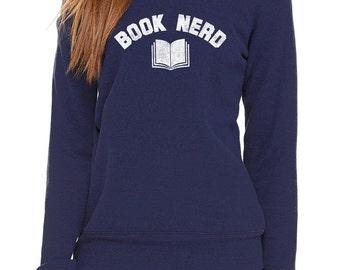 Book Nerd Scoop Neck Sweatshirt  - Geeky Nerdy Literary Sweatshirt -  Raglan - Cool Athletic Fashion - Off the Shoulder