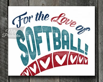 Softball Print - INSTANT DOWNLOAD Softball Art - Vintage Softball Poster - Softball Wall Art - Softball Gifts - Softball Decor - Sports SART