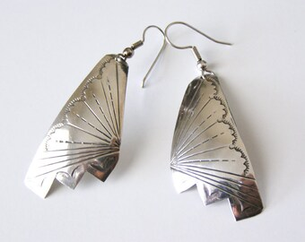 Vintage Butterfly Wings Sterling Silver Earrings, Large Size Butterfly Sterling Silver Earrings