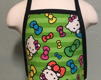 Clearance Hello Kitty kids apron with black trim and ties personalization is free