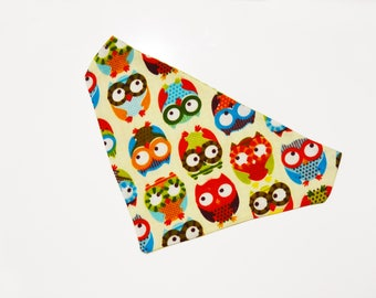 Reversible bandana for dogs and cats. Tie on dog bandana. Personalized bandana. Owls bandana