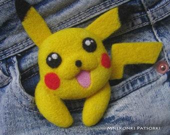 Pokemon Pikachu Needle felting pin Needle felted Brooch Pokemon Go Pikachu Handmade Felt Brooch Pikachu Handmade Pocket Monster Wool Jewelry