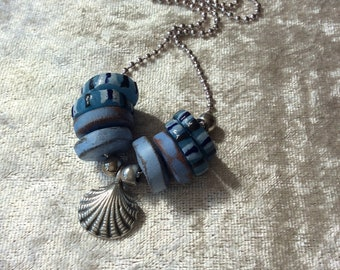 Scallop shell pendant necklace, Rustic blue ceramic discs,Recycled African glass discs,Summery necklace