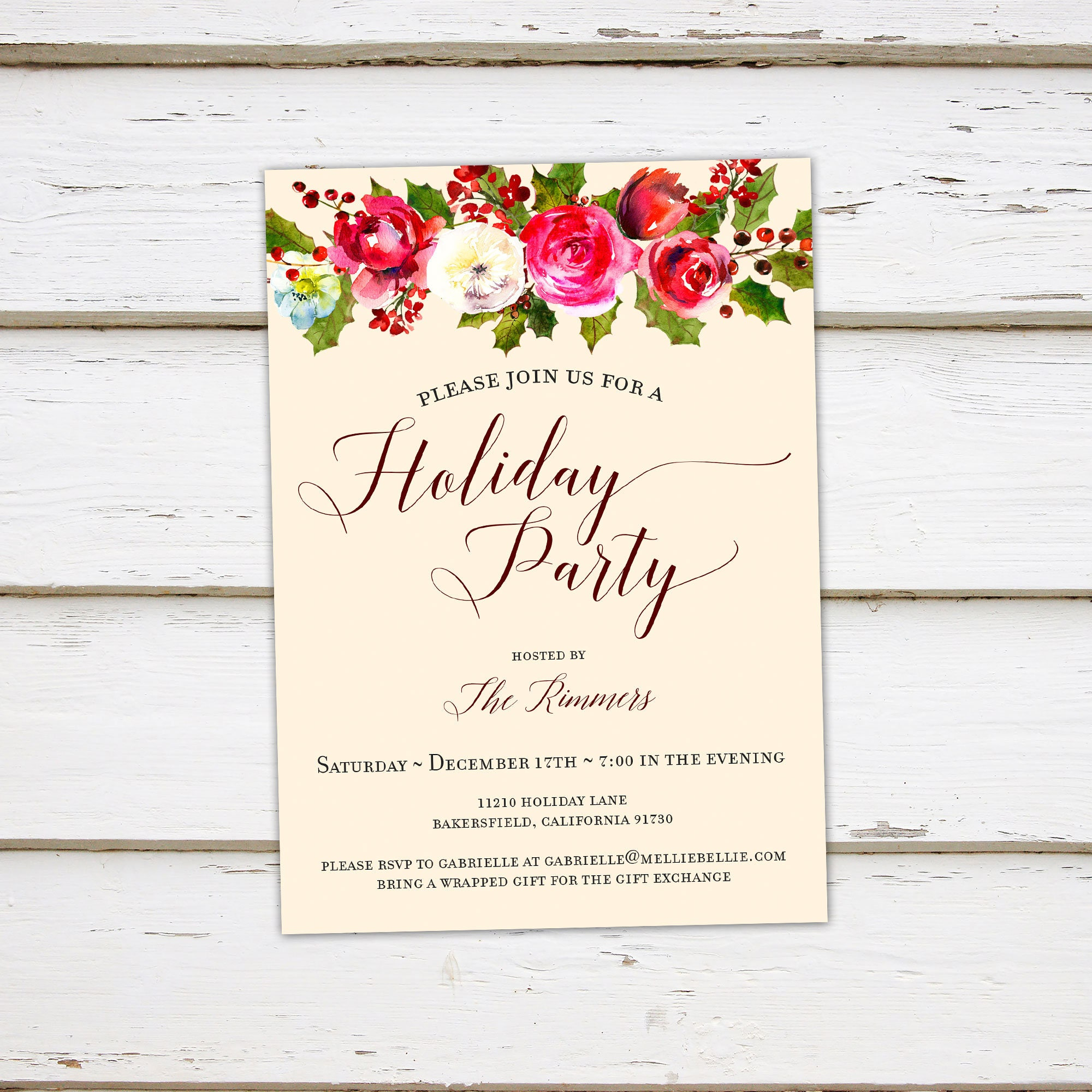 Printable Floral Holiday Party Invitation Christmas Party