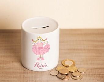 Personalised Girls Doll Money Piggy Bank