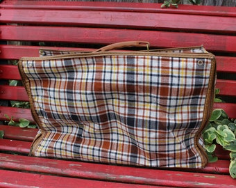 Vintage 1960's Era Brown and Tan Plaid Soft Sided Overnight Suitcase
