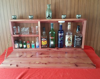 Murphy Bar Eastern Red Cedar Fold Down Liquor Cabinet