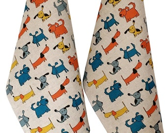 """2 Tableware towels kitchen towels """"dog orange"""" linen (50 x 70 cm), Mother's Day/Father's Day/gift"""