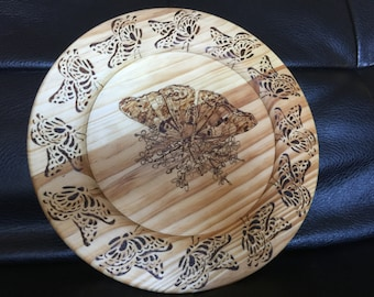 Butterfly platter, wood burned, hand made