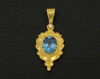 Blue Topaz Cz Pendant Byzantine Style 925 Sterling Silver 22K Gold Plated Greek Handmade Art Luxury