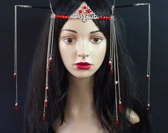 Geisha Asian Japan Headpiece Fantasy Headdress Tribal Belly Dance Dancewear Jewelry Burning man Festival Wood Hair Stick Chopsticks