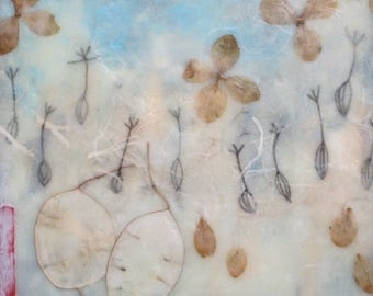 Encaustic Painting, abstract art, seed pod art, dandelion seeds, aqua art, money plant
