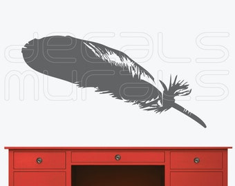 Sale 50% Off~~~ Wall decal DARK GREY FEATHER Removable vinyl interior decor by Decals Murals (12.5x49)