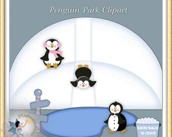 Penguin Winter Park Clipart