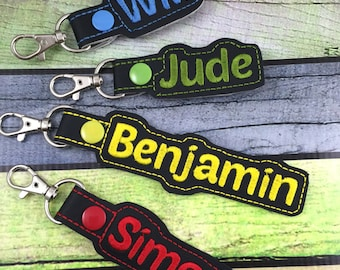 Personalized Name Tag - customized name Keyfob - embroidered keychain - gifts under 20 -backpack tag