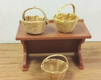"MINIATURE WOVEN BASKETS, Set of 3, 7/8"" tall with Handle, Vintage Dollhouse, Shop Supply, Decor"
