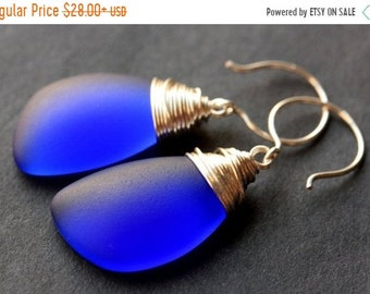 SUMMER SALE Cobalt Blue Seaglass Earrings. Cobalt Blue Earrings. Cobalt Blue Sea Glass Earrings. Wire Wrapped Wing Earrings. Handmade Jewelr