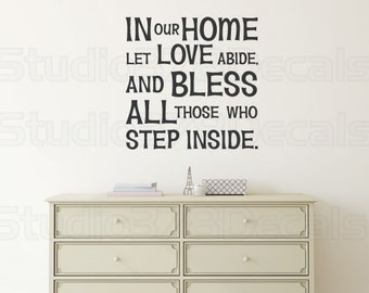 Bless Our Home Wall Decal | In Our Home Vinyl Wall Decals | Family Wall Decal | Vinyl Lettering | Entry Wall Art | 23x23