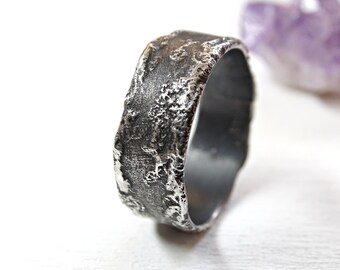 meteorite ring silver, molten silver ring, silver wedding band, unique engagement ring, space ring moon surface, rustic wedding ring silver