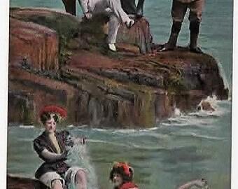 BATHING BEAUTIES, Vintage Comic Postcard, INTRUDERS, Valentines Series, 1906