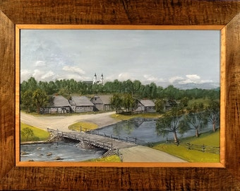 Superb ca.1960 Peaceful European Village by the River Oil Painting w/Frame Signed
