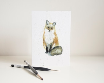 Watercolour Fox Greetings Card