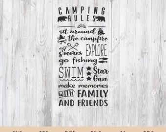 Camp Rules svg, Camp Rules Cut File in SVG, DXF, PNG, Camp Rules Printable, Camping Rules svg, Camping svg, Campers svg, Camp svg files
