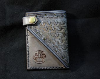 grey viking leather wallet, tooled leather wallet, tooled leather card wallet, leather card wallet, viking leather, dwarven leather
