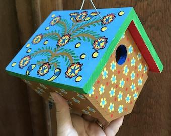 """Birdhouse Indoor-Outdoor Handpainted """"Fern Blue"""""""