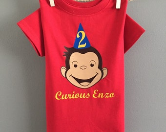 Curious George Birthday DECAL, Curious George Birthday, First Birthday Curious George DECAL, Self applying heat transfer decal