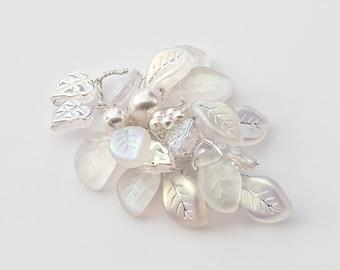 White Bridal Brooch, Leaf Brooch, Flower Brooch, Nature Jewelry, Wedding Jewelry