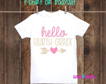 Hello Fourth Grade First day of school shirt girl