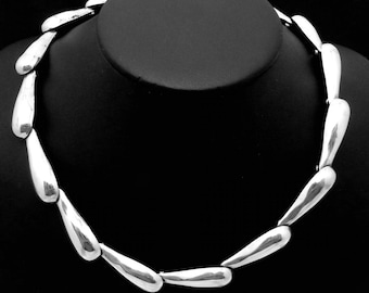 Vintage Taxco Mexico Mexican Modernist Sterling Silver Tear Drop Necklace 23768