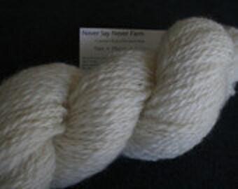 Border Leicester, hand spun yarn, natural white, 128 yards, 2 ply, aran (8 wpi)