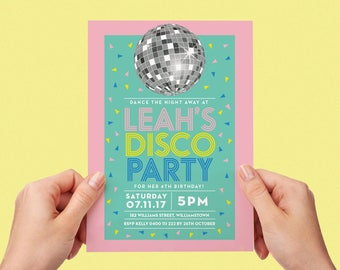 Disco Invite Printable Personalised Invitation Confetti Childs Kids Invite Disco Party Teen Tween Little Girl Disco Ball Dancing Pink Pretty