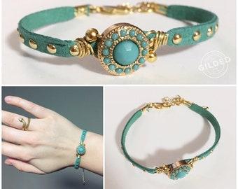 Ambrosia Bracelet — adjustable turquoise gold brown suede leather studded layering crystal bezel halo stacking nashville arm-party spring