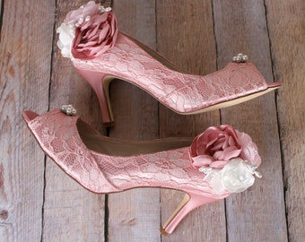 Wedding Shoes, Pink Wedding Shoes, Lace Wedding, Bridal Heels Lace, Ivory Wedding Shoes, Wedding Shoes Flowers, Pink Wedding Accessories