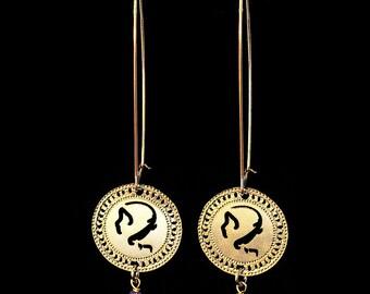 Zodiac Virgo earrings, Gold earrings, Birthstone Lapis earrings, Long earrings, Zodiac jewelry, Astrology earrings, Hebrew jewelry