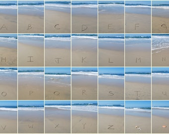 Alphabet Photography Letters, Personalized, Home Decor, DIY, Download, PRINTABLE, Wall Art, Sand Alphabet, Writing in the Sand