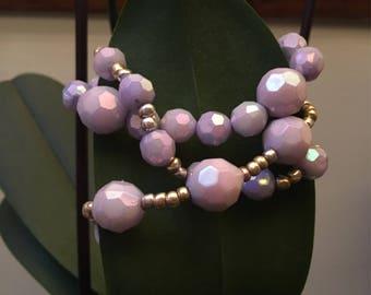 3 Shiney purple beaded bracelets