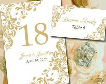 "Printable Wedding Table Number Template Place Card Template ""Jenna"" Gold Flourish Escort Card Instant Download Table Number Card DIY Wedding"