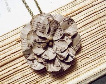 Sheet Music Flower Necklace