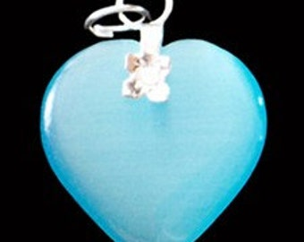 27mm Aquamarine Blue Cats Eye Fiber Optic Heart Pendant With Silver Bail