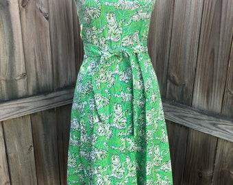 Rare Vintage Lilly Pulitzer Irving by Zuzek Key West Hand Print Tiger Dress Blue Green