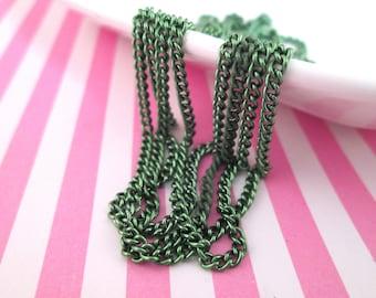 Metallic Olive Green Twist Chain, Thin Teal Chain, 2x3mm