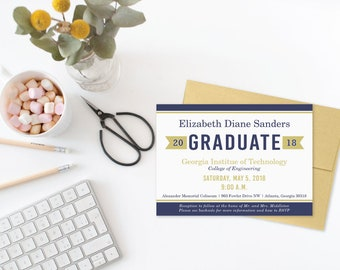 College Graduation Announcement, Class of 2018 Commencement Celebration Invitation, Graduate Announcement, Navy Gold Graduation Invitations